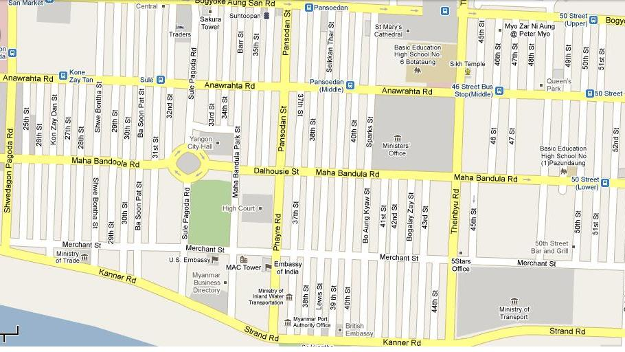 Pt. B D Dube - Rangoon Yangon Street Map on tegucigalpa street map, richards bay street map, riga street map, kampala street map, nagoya street map, myammar taunggyi city map, george town street map, colombo street map, ho chi minh city street map, sarajevo street map, rotterdam street map, chiang mai street map, guilin street map, qatar street map, benghazi street map, amman street map, multan street map, rangoon map, taipei city street map, zagreb street map,