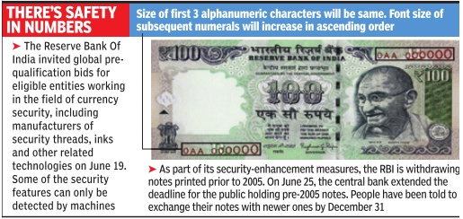 Rbi Security Enhancement Measures Graphic Courtesy The Times Of India Jul 02 2017