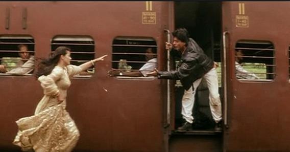 Dilwale Dulhania Le Jayenge 1995 Kajol And Shahrukh Khan In The Most Parodied Scene Hindi Urdu Film History